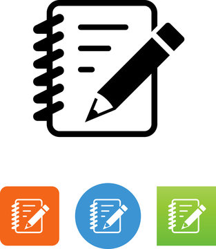 Notebook With Pencil Icon - Illustration