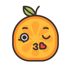Kiss emoji. Kissing orange fruit emoji with heart. Vector flat design emoticon icon isolated on white background.