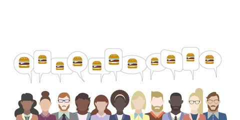 Leute mit Sprechblasen - Hamburger