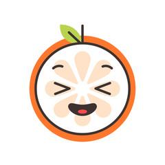 Enjoy emoji. Smiley enjoying orange fruit emoji. Vector flat design emoticon icon isolated on white background.