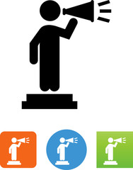Person On A Stage With A Megaphone Icon - Illustration