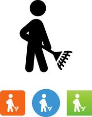 Person Raking Icon - Illustration