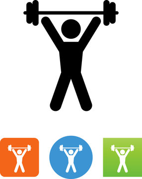 Person Lifting Weights Icon - Illustration