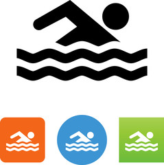 Person Swimming Icon - Illustration