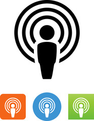 Person With Audio Waves Icon - Illustration