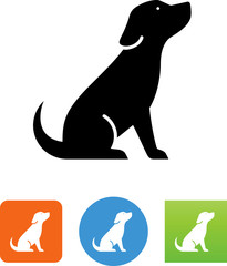 Puppy Sitting Icon - Illustration