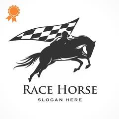 Race horse Illustration Logo Vector silhouette