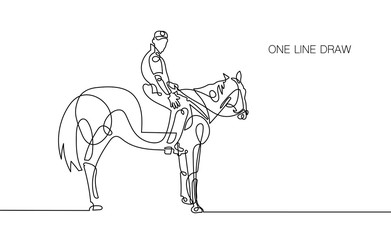 trendy continuous one line rider on horseback drawing