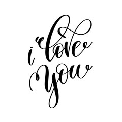 i love you black and white hand lettering inscription