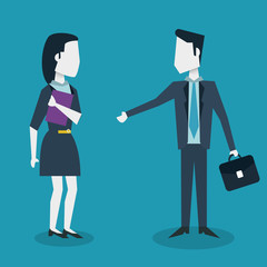 colorful background of meeting businesswoman and businessman with executive briefcase