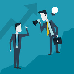 colorful background with business men in growing process of idea and one with megaphone and briefcase