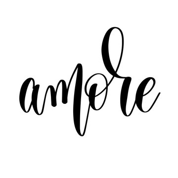 amore - black and white hand lettering inscription to wedding in