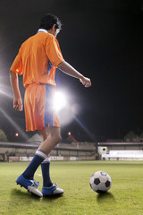 Rear view of man about to kick ball at soccer field