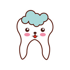 Human tooth with toothpaste kawaii character vector illustration design