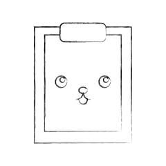 clipboard paper kawaii character vector illustration design
