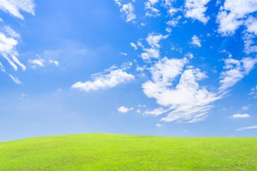 夏の青空と緑の丘