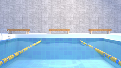 3d rendering picture of cartoon swimming pool.