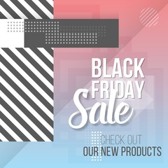 Illustration of Black Friday Sale Lettering. Modern Paper Lettering on Trendy 90s Style Geometric Background