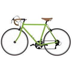 Green bicycle isolated