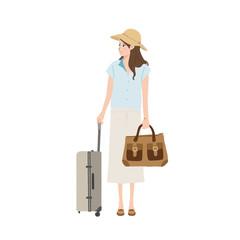 旅行する 女性のイラスト
