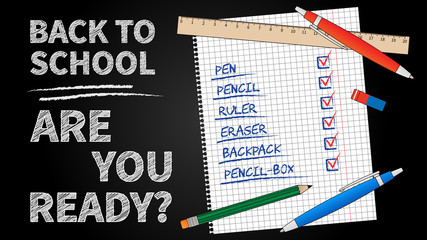 Back to school vector illustration. Line art banner Back to school with list of stationery elements (pencil, pen, ruler, staple). Black chalk board template graphic design.