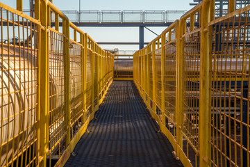 handrail industrial yellow fence metallic