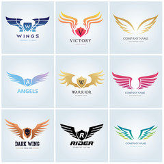 Wing logo collection, wing vector icon design template set