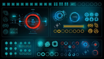 Futuristic virtual graphic touch user interface, HUD