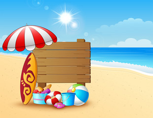 Summer beach background with wooden sign