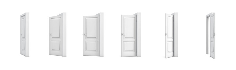 3d rendering set of white wooden doors in different stages of opening.