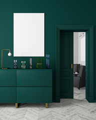 Classic, modern, scandinavian style dark-green color interior mock up with vases, dresser, consoe, door, lamp, frame, wooden floor. 3d render illustration.