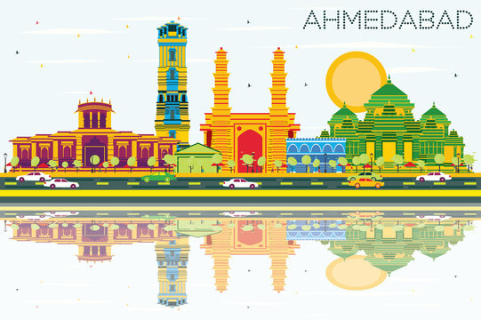 Ahmedabad Skyline with Color Buildings, Blue Sky and Reflections.