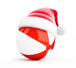 Santa hat Beach ball  on a white background 3D illustration, 3D rendering