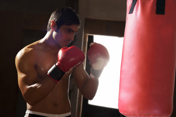 Young shirtless man working out with punching bag in gym