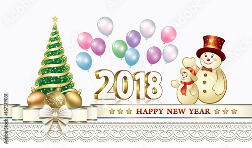 happy new year 2018 with christmas tree and snowmen with balloons