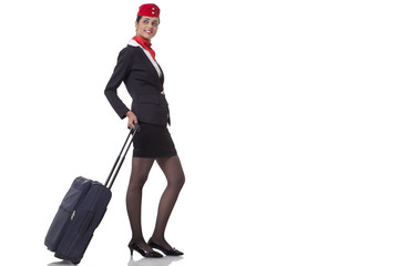 An airhostess with luggage bag isolated over white background