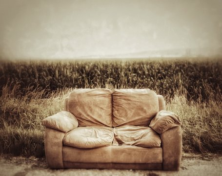 Abandoned roadside couch and cornfield.