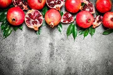 Ripe pomegranates.