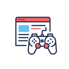 Browser Games - modern single vector line design icon.