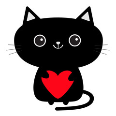 Cute black cat icon holding red heart. Funny cartoon character. Kawaii animal. Tail, whisker, big eyes. Kitty kitten. Baby pet collection. White background. Isolated. Valentines Day. Flat design.
