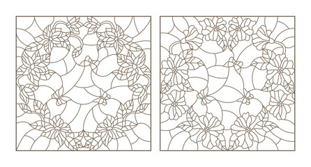 Set contour illustrations of stained glass with flowers in a circle and butterflies