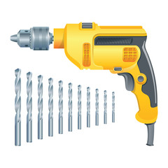 Electric drill and set of drills