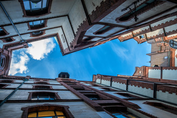 View upwards in a historic district of Hamburg