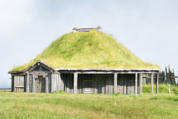 Reconstruction of a viking hut in Iceland
