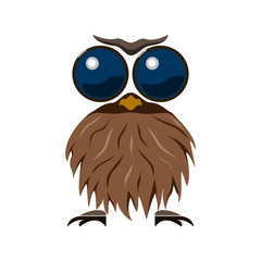 Mr Owl, icon. Abstract concept. Flat design. Vector illustration on white background.