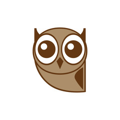 Owl icon, brown. Abstract concept. Flat design. Vector illustration on white background.