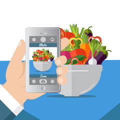 Flat vector illustration. Hand taking picture photo of food in restaurant or cafe with smartphone. Selfie shot.