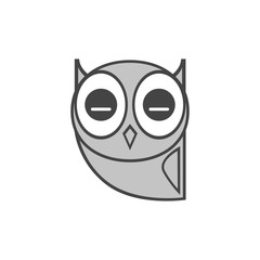 Sleeping gray owl, icon. Abstract concept. Flat design. Vector illustration on white background.