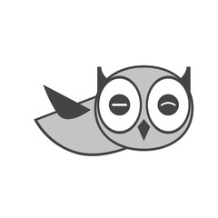 Owl icon, gray. Abstract concept. Flat design. Vector illustration on white background.