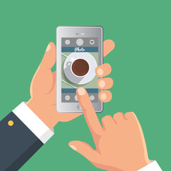 Hand taking picture photo of food in restaurant or cafe with smartphone. Selfie shot. Flat vector illustration